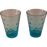 Aqua Azure Capri Dot Juice Glass set of 8 by Hazel-Atlas