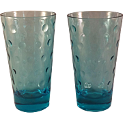 Aqua Azure Capri Dot Water Glass set of 8 by Hazel-Atlas