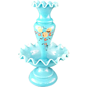 Blue Victorian Bristol Glass single bud Epergne with ruffled edge