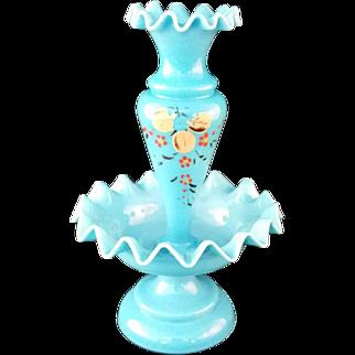 Blue Victorian Bristol Glass single bud Epergne with ruffled edge