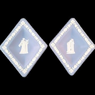Pair of Wedgwood Blue Jasperware diamond dishes – Mid Century Modern 1960's