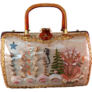Seashells on Wicker with Carmel colored Lucite accented Pocketbook 1960's Vintage