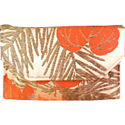 Brocade 100% Silk Clutch made for Gump's of San Francisco 1940's in Orange Gold