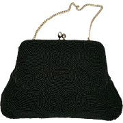 Vintage Black beaded evening bag with butterflies – Simon Made in Japan c1950's