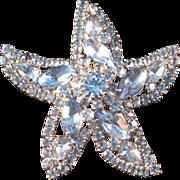 Vintage Weiss Blue Rhinestone Sea Star Starfish Brooch Silver Pin