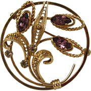 Vintage Van Dell 12K Gold filled Pin - Round Circling Leafs with 3 Amethyst and Diamond Rhinestones Brooch