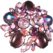 """Vintage Shades of Purple, Pink, Iridescent  and Multi Shaped Rhinestone Brooch Pin - Round 2 1/4"""""""