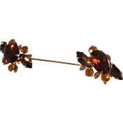 Rare Vintage Screw on Double Ended Hat Pin with Faceted Brown, Gold and Smokey Rhinestones