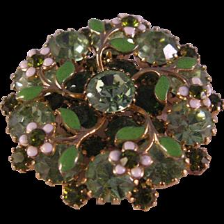 Stunning Brooch in Shades of Green Rhinestones with Enamel Daisy & Leaf Pin – 1950's