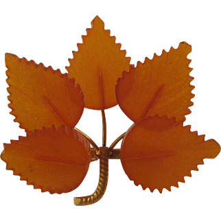 Amber 5 Leaf Brooch Hand Carved Vintage Russian Baltic and Gold