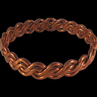 Greek Copper Bracelet Vintage 1970's - twisted copper design