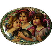 3 Sisters and Bunny Paper Mache Brooch Russian Lacquer Pin - Hand Painted and Signed
