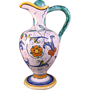 Vintage Blue and Yellow Italian Ewer Pitcher w ceramic cork- Hand Painted in Perugia, Italy - 1960's