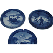 3 ROYAL COPENHAGEN Holiday Blue Plates Denmark 1964-65-66 by Kai Lange - Ex Condition