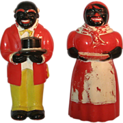 Vintage hard plastic Aunt Jemima Uncle Mose salt and pepper shakers 1940-50's