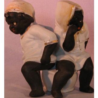 Black Americana Porcelain Bisque Figurine 2 Children