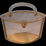 Vintage Majestic Lucite Clear w Gold Trim Oval Purse Pocketbook