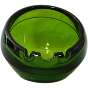 Viking Orb Cigar Ashtray Mid Century 60's Modern Mad Men Olive Green Round Glass