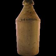 GC Danforth Stoneware Salt Glaze Grey Lettering Beer Root Bottle from late 1800's