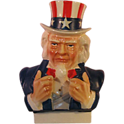 American Uncle Sam Ceramic Coin Bank in original Box from 1960's - Save for your Future - Red Tag Sale Item