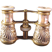 Vintage Mother of Pearl and Brass Opera Glasses by D. C. & H. S. FINK of Providence RI - Red Tag Sale Item