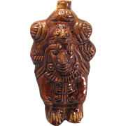 "11"" Mayan Aztec Head Design Rockingham Glazed Redware Pottery Figurine Flask Vessel"