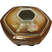 Vintage Porcelain Painted Roses Brown Hexagon Hair Receiver marked MZ Austria (Moritz Zdekauer)