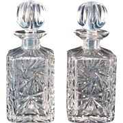 Pair of Vintage Cut Lead Crystal Liquor Decanters