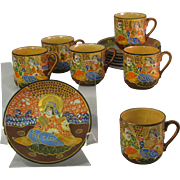 6 Vintage Takito Satsuma Moriage Tea Cup and Saucer Set - Multi Colored Geisha and Samurai Design - Marked Handpaint Made in Japan  w/ TT