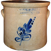 Blue Floral Spray E & LP Norton, Bennington, Vermont Stoneware 1 Gallon Crock