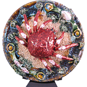 "Palissy Majolica Large Crab Wall Plate Charger 10"" made in Portugal"