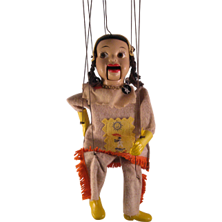 1950s Howdy Doody Indian Princess Girl Summer Fall Winter Spring Marionette w box by Peter Puppet Playthings