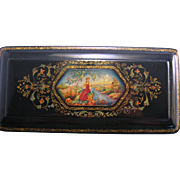 Russian Mstera Lacquer Box depicting Maiden Sitting by Stream Papier Mache Signed USSR