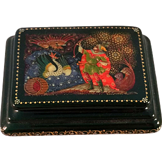 Small Russian lacquer Fairy Tale Box made by an artist from Palekh