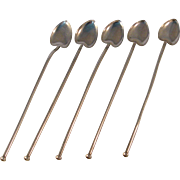 Vintage Heart 5 Ice Tea Straws Sterling Silver Webster Co. Mid 20th Century