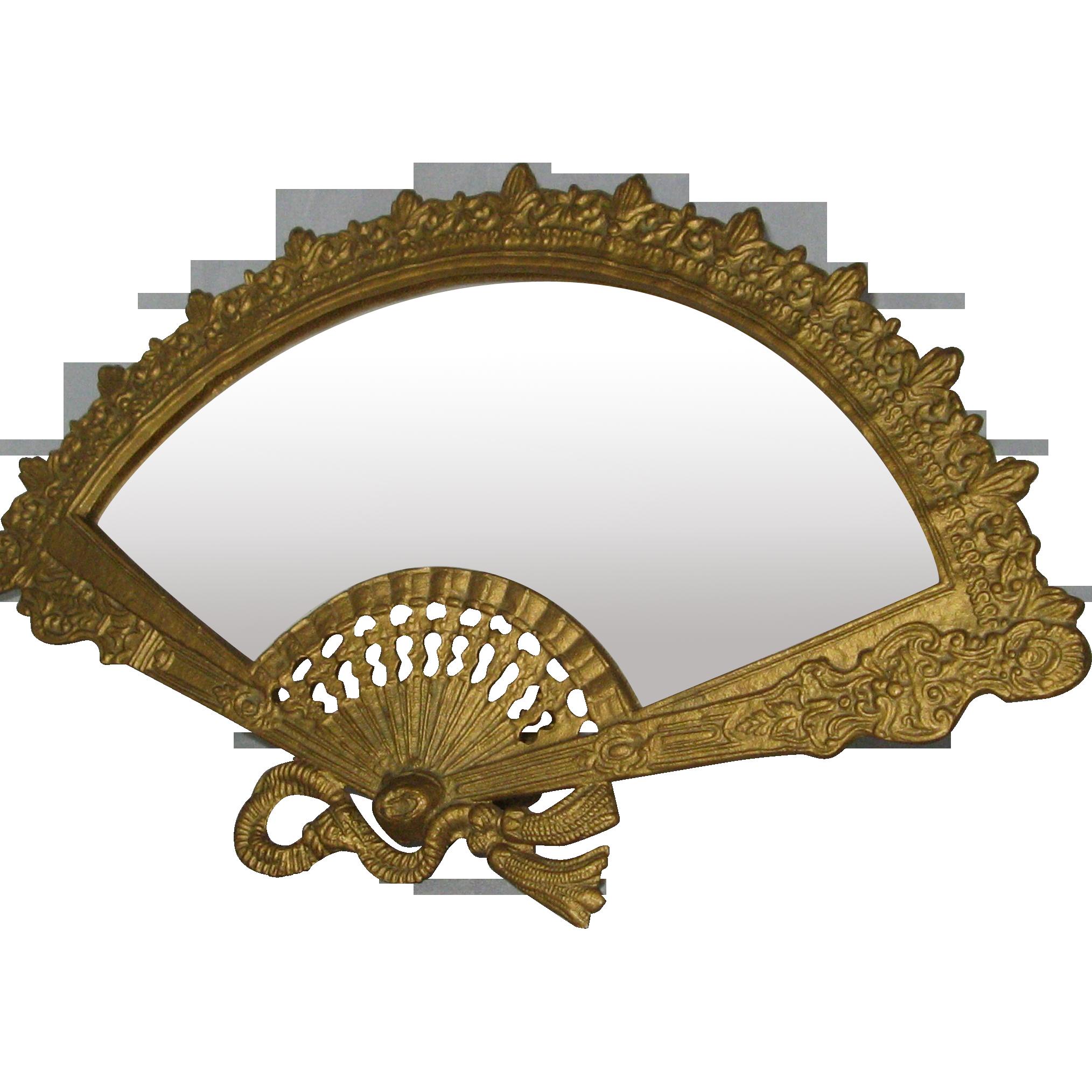 Vintage iron art fancy fan vanity dressing table mirror for Fancy vanity mirror