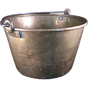Vintage hammered Brass Bucket or Pail with Iron Handle and Copper Rivets - 1 Gallon