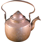 Hammered Solid Copper Tea Kettle gooseneck spout w lid marked DB - 1800's Vintage European