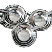Set of 8 Sterling Silver Diner table ashtray by Towle of Newburyport, MA c1960's