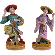 Porcelain Dancing Asian Couple figurines in Vibrant Colors w Gold Accents - Occupied Japan