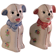Set of New Baby Pink and Blue Dog Planters - Occupied Japan 1947 to 1952 - Horseshoe mark