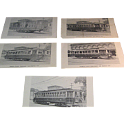 "5 Vintage ""Old Albany"" Nostalgia Bookshop Railroad Passenger Supply Train Postcards"
