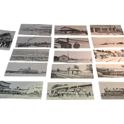 16 Different Wolfboro, NH Rail Road - Historical Series Post cards: Printed in the 1960's by the Historical Association