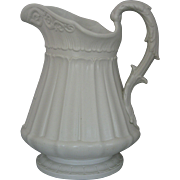Rare W. Ridgway Son & Co, Hanley, Large Victorian Parian Glaze Molded Pottery Water Pitcher