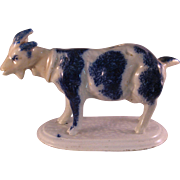 Rare Staffordshire Flow Blue Goat Creamer - 18th Century