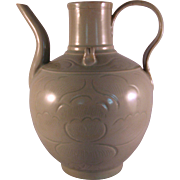 Vintage Asian Pottery Celadon Lotus Flower Gooseneck Teapot Vase