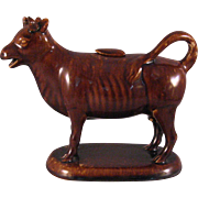 Rockingham Bennington ware Cow Creamer - Fenton Potteries with Lid Mid 1800's