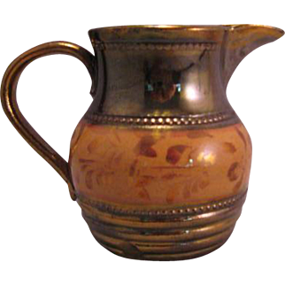 English Copper Lustre Creamer hand painted Mid 1800's marked by Allertons Longton England