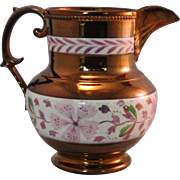 Pink Copper Lusterware Pitcher Floral Double Band - Mid 1800's