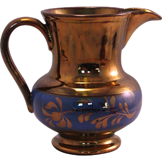 English Copper Luster ware Creamer Pitcher Blue Band - Mid 1800's